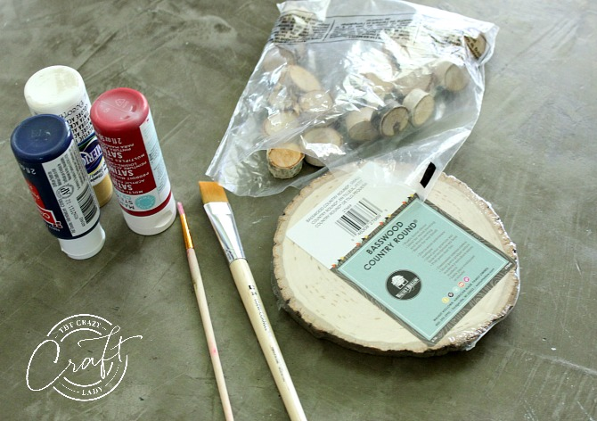 DIY Tic Tac Toe Board - Supplies - wood rounds, paint, paint brushes