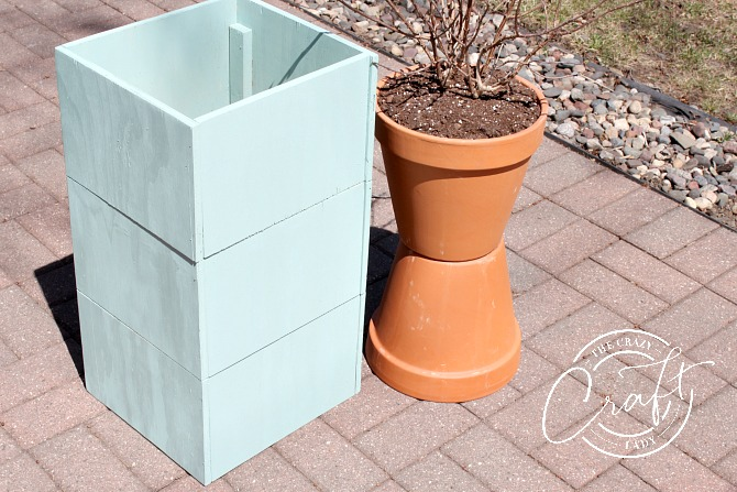 DIY plywood tall planter box