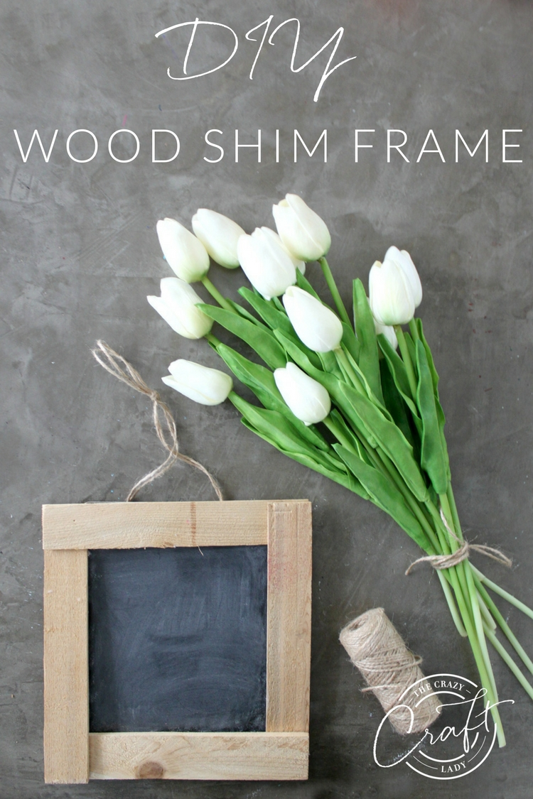 Make this DIY rustic chalkboard, and a simple wooden frame made from wood shims. This little chalkboard sign is perfect for switching up your seasonal decor.