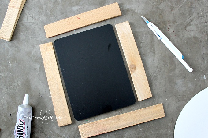 Make A Diy Rustic Chalkboard Frame With Wood Shims The Crazy Craft