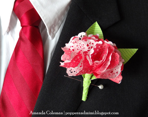 Paper Flower Boutonniere by Amanda Coleman - beautiful paper crafts