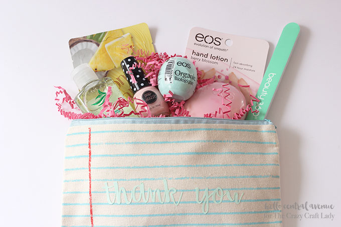 "If you are looking for a way to thank your children's teachers for their service this past school year, try making these easy and inexpensive personalized summer break teacher gifts!  These adorable little monogramed ""relaxation pouches"" will give the teachers what they need to enjoy a peaceful and restful summer!"