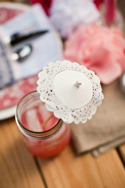 diy doily stir sticks - a fun cocktail idea - diy paper doily drink umbrellas
