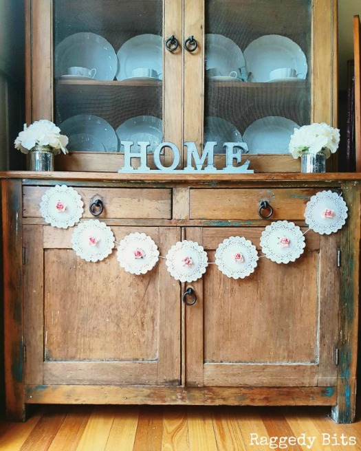 farmhouse paper doily rose garland