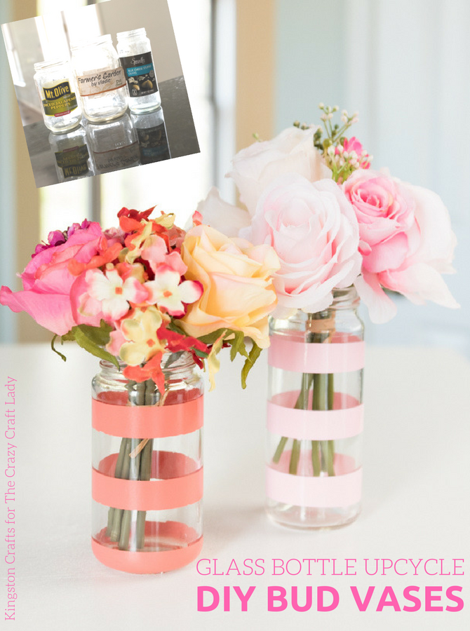 Glass Bottle Upcycle Diy Bud Vases The Crazy Craft Lady