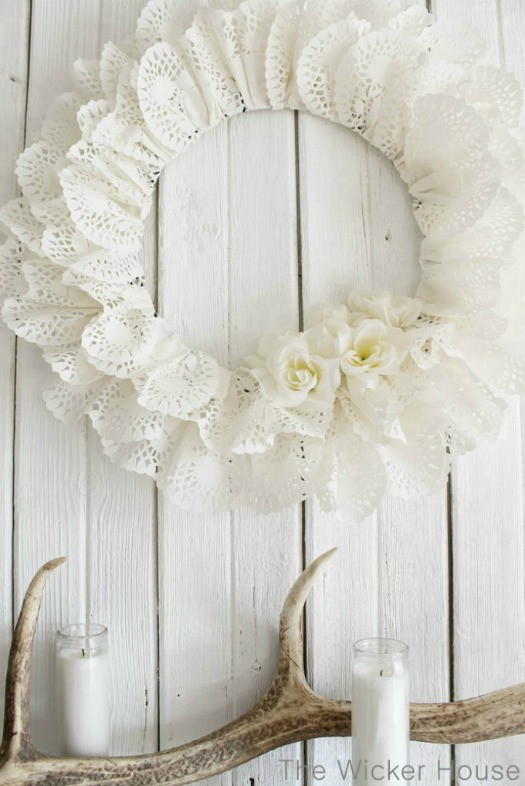 heart paper doily wreath