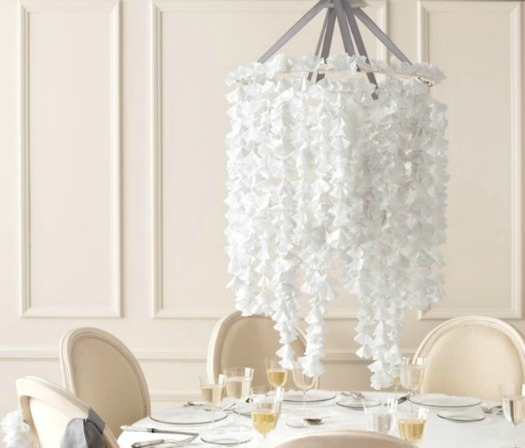 paper doily chandelier