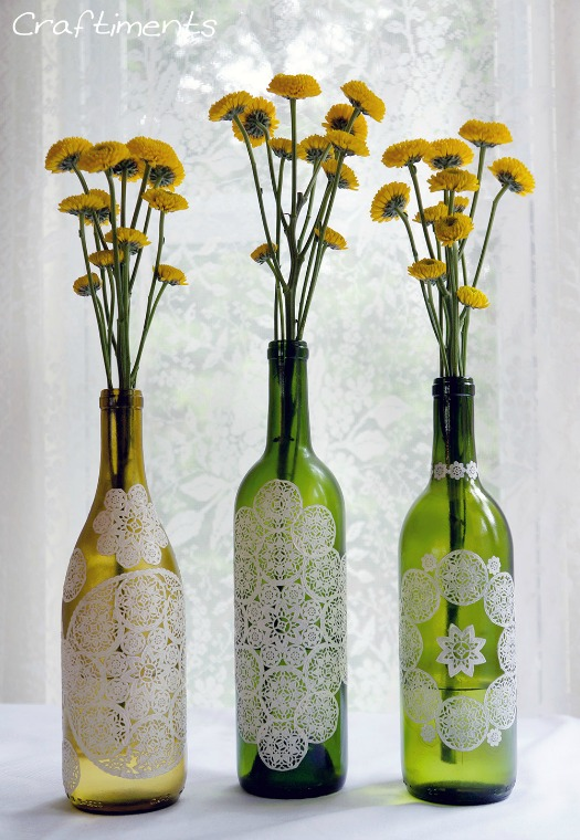 DIY paper doily decoupage wine bottles