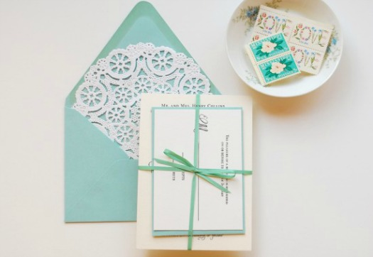 paper doily envelope invitation - teal envelope and white doily liner