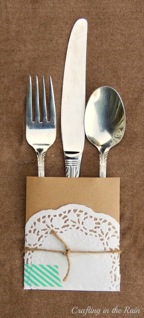 paper doily silverware packet with kraft paper and washi tape