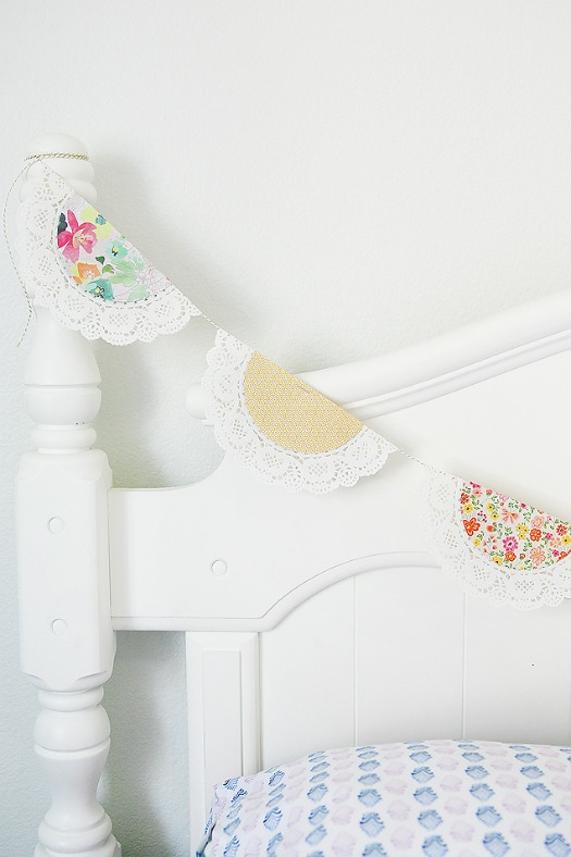 spring paper doily banner - made with white paper doilies and colorful scrapbook paper