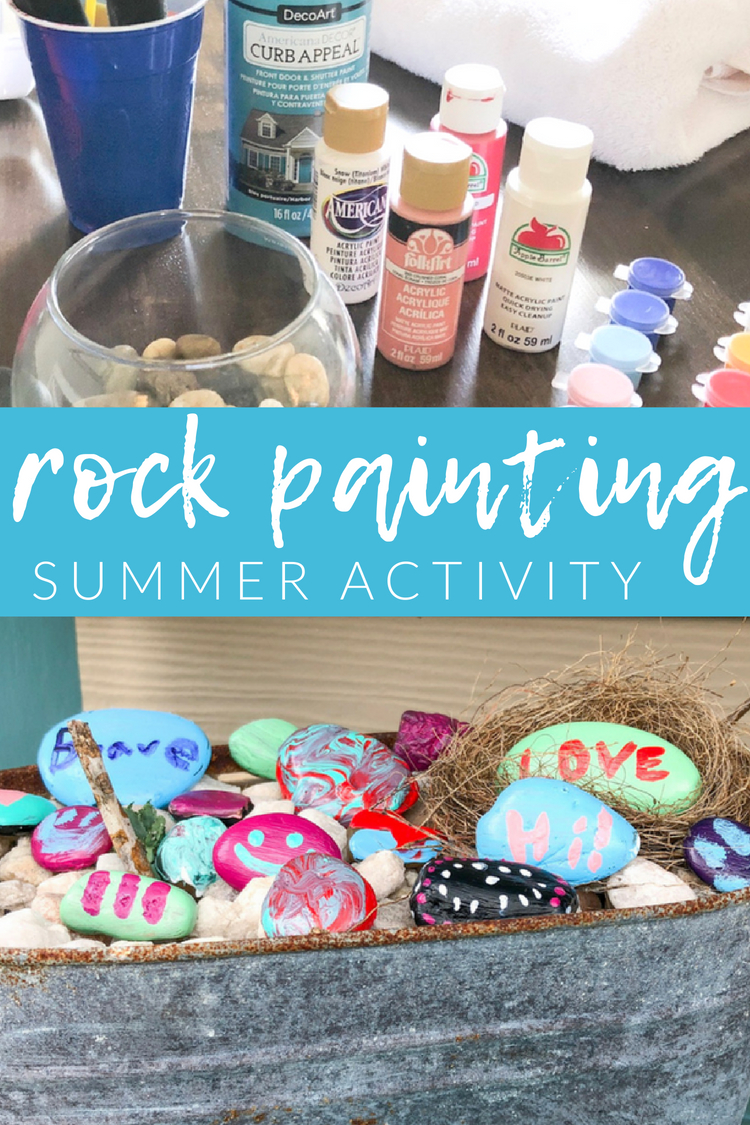 Lately there has been a local craze of painting rocks and hiding them around town for others to find. So why not add our own little creations to the mix? Give this kids rock painting activity a try.
