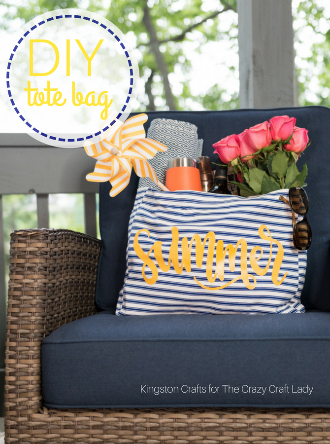 "Summer is here - and as much as we love it we also know it means toting lots of ""stuff"" for the kiddos! We still should look cute doing it, so today we're going to learn how to make an easy DIY Summer Tote Bag in just a few minutes!"