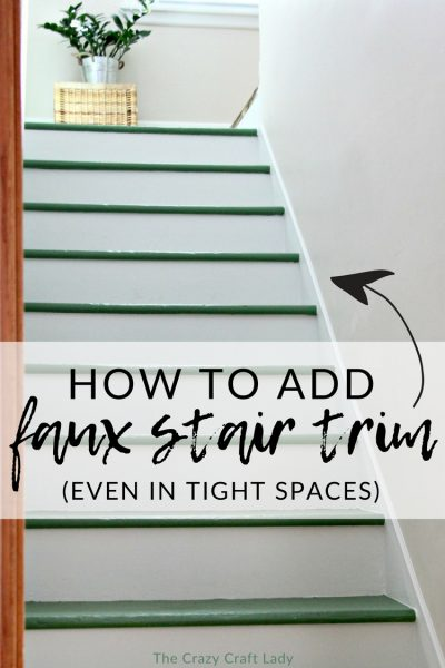 """Adding your own DIY stair trim is easier than you many think. Follow this tutorial to add a """"faux"""" stair skirt board to your steps."""