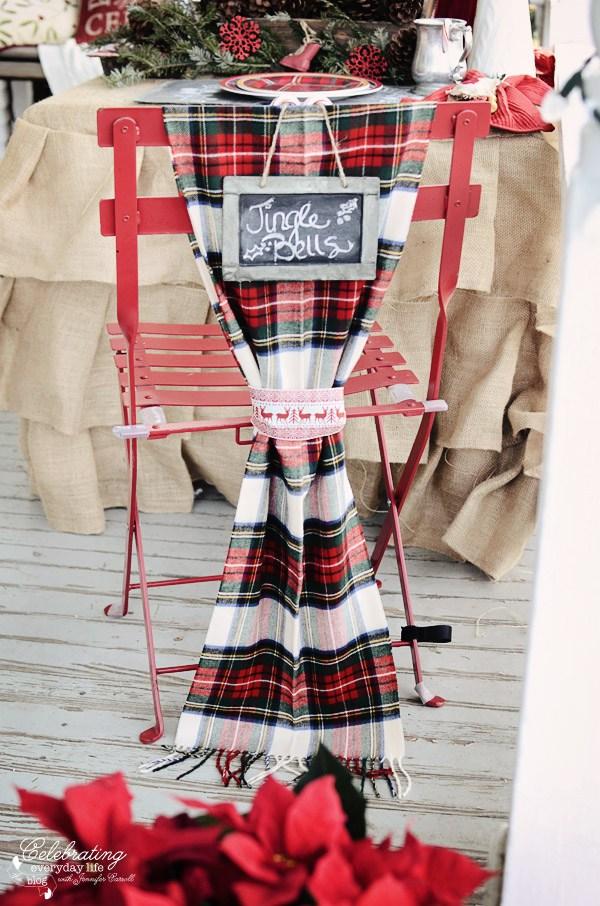 Plaid Scarf Christmas Chair