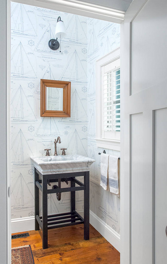 Bathroom Wallpaper Ideas - nautical powder room design