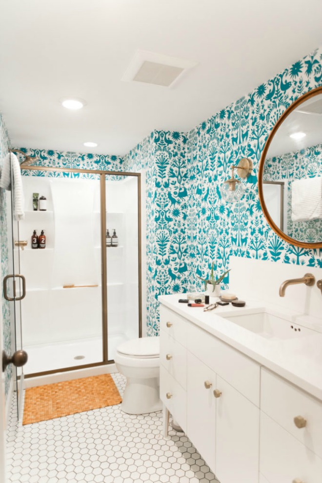 Bathroom Wallpaper Ideas - bright teal and white bathroom design