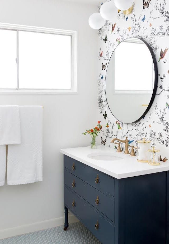 Bathroom Wallpaper Ideas - navy vanity with butterfly and bird wallpaper