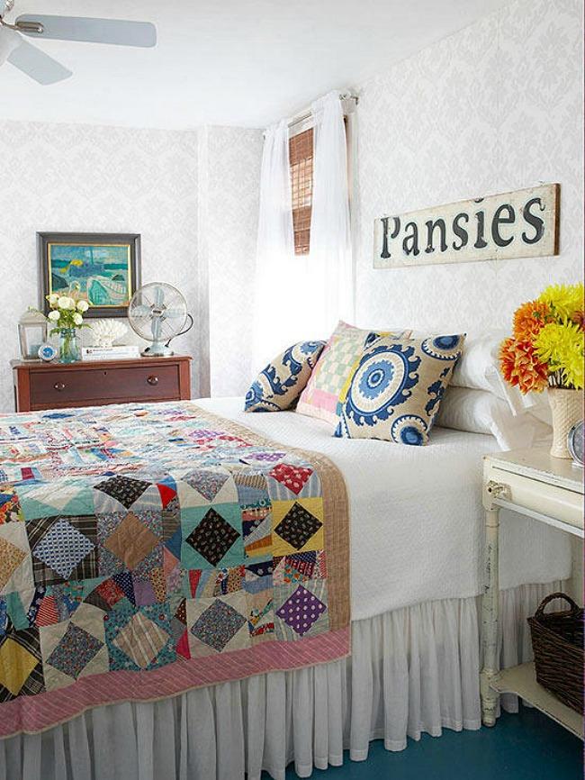 Bedroom Wallpaper Ideas - eclectic cottage bedroom design