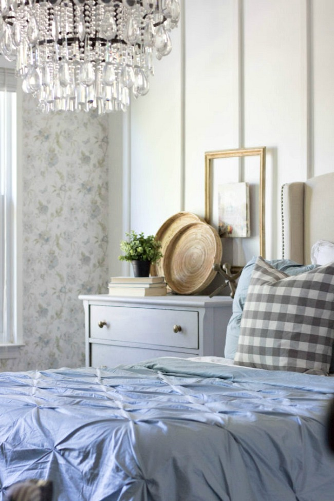 Bedroom Wallpaper Ideas - French cottage master bedroom