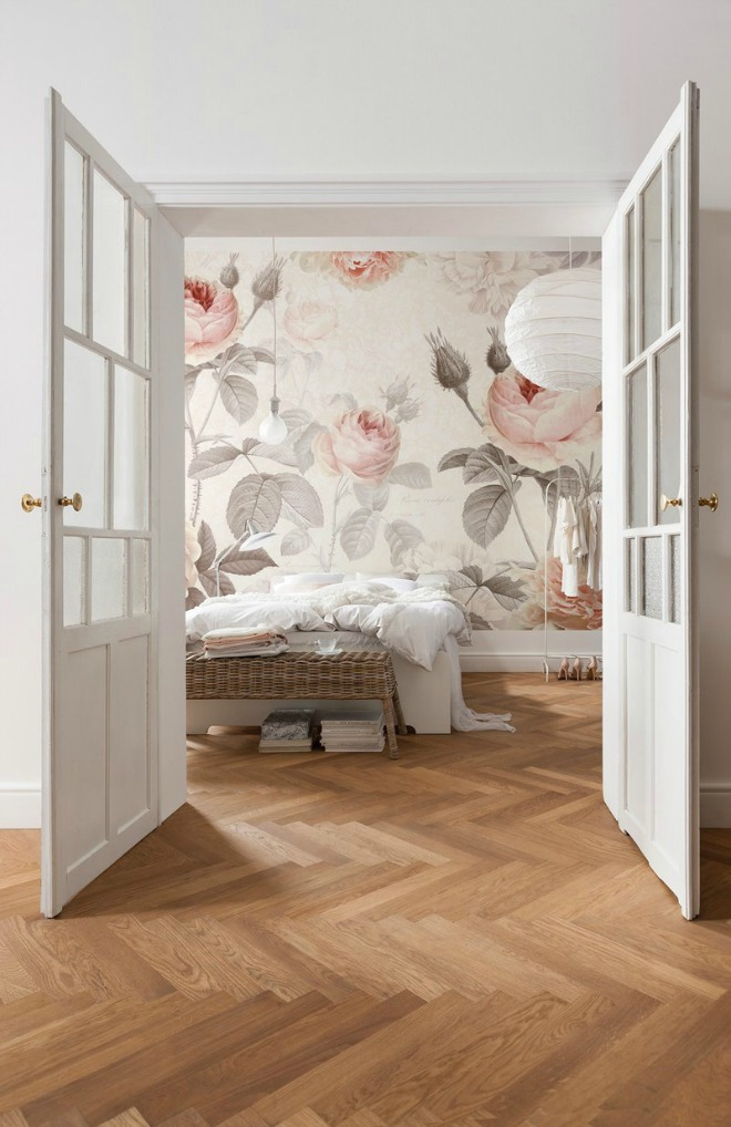 Bedroom Wallpaper Ideas - floral wall mural