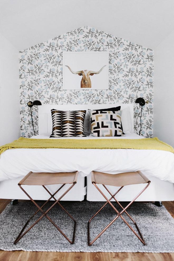 Bedroom Wallpaper Ideas - floral feature wall in attic bedroom