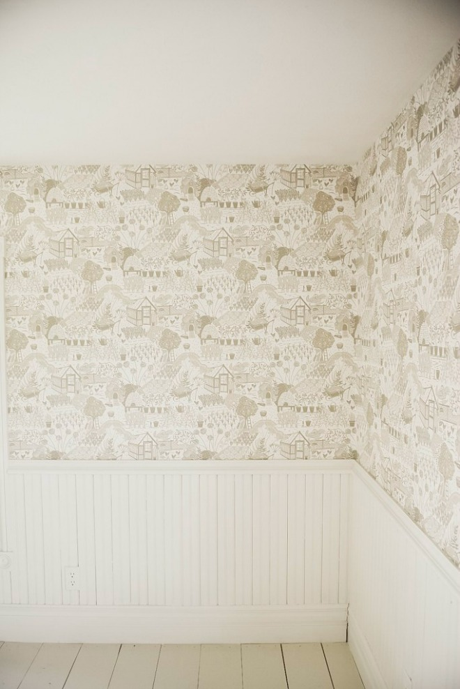 Bedroom Wallpaper Ideas - beadboard with wallpaper