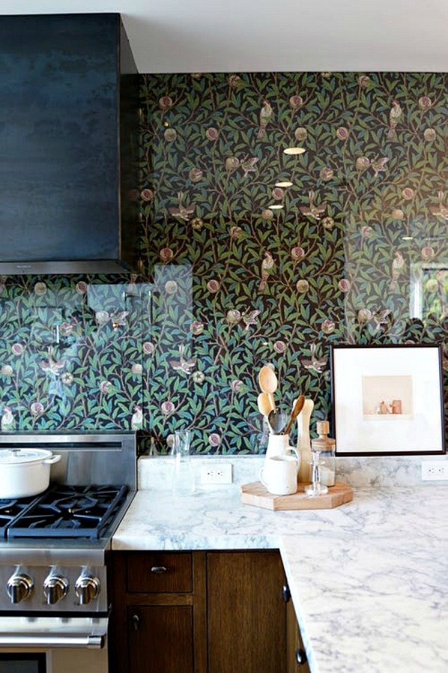 Kitchen Wallpaper Ideas - protecting a wallpaper backsplash