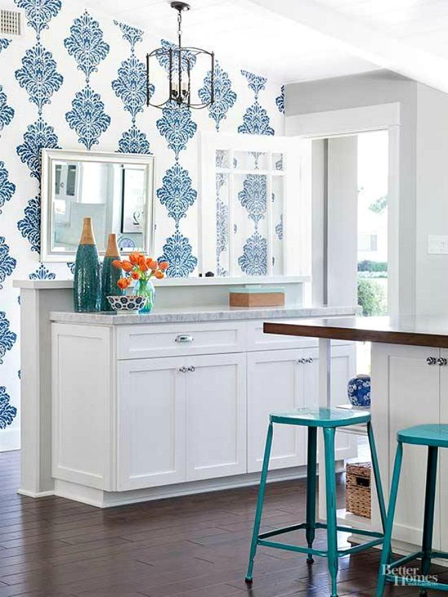 Kitchen Wallpaper Ideas - blue and white kitchen design
