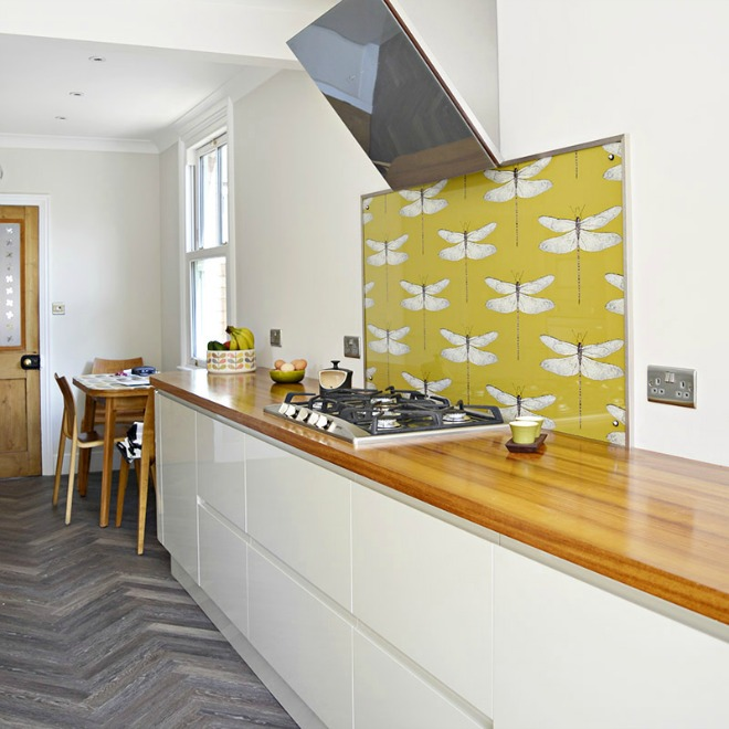 Kitchen Wallpaper Ideas - yellow kitchen backsplash