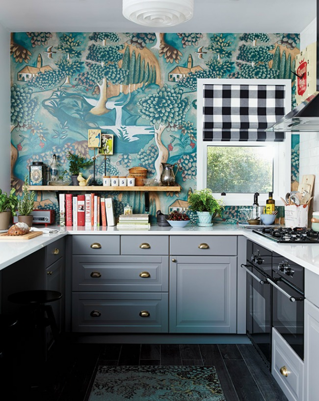 Kitchen Wallpaper Ideas Gray And Teal Eclectic Design