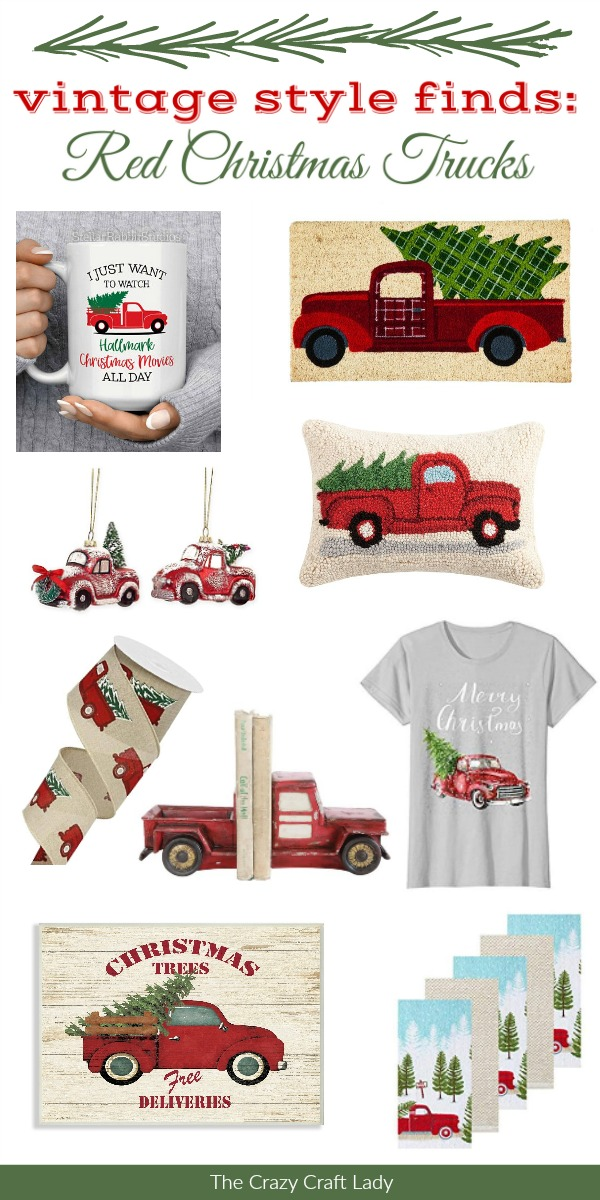 Vintage Red Truck Christmas Decor.Vintage Style Finds Red Truck With Christmas Tree The