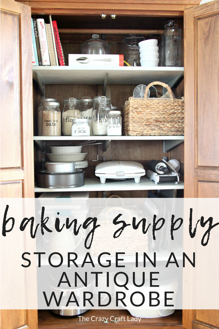 baking supply storage in antique wardrobe - Organized Baking Supplies: A Baking Storage Cabinet - The Crazy