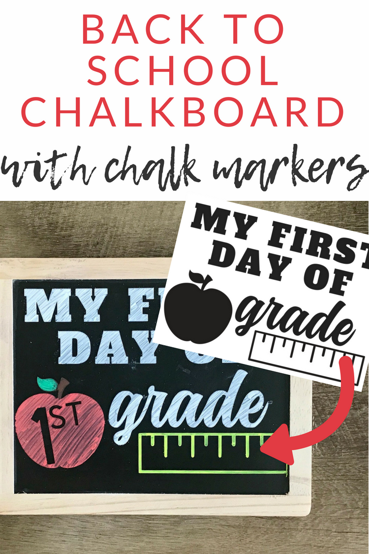 Make this first day of school chalkboard art, perfect for taking back to school pictures. Download this FREE cut file, to customize for any grade.