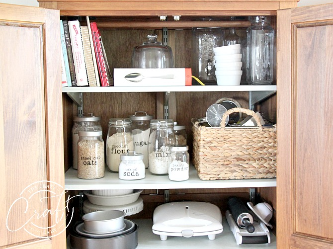 organized baking supplies and pantry shelves