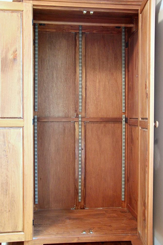 shelftrack system in an antique wardrobe