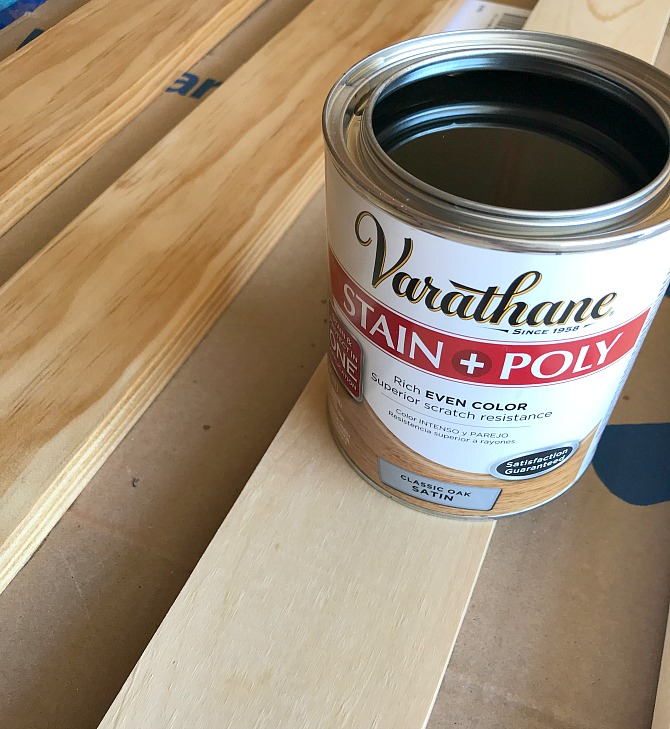 staining wood for shelf support