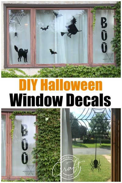 Make your own Halloween window decorations with these DIY custom window decals made with temporary adhesive vinyl. Create a spooky Halloween scene in your windows to wow trick-or-treaters!