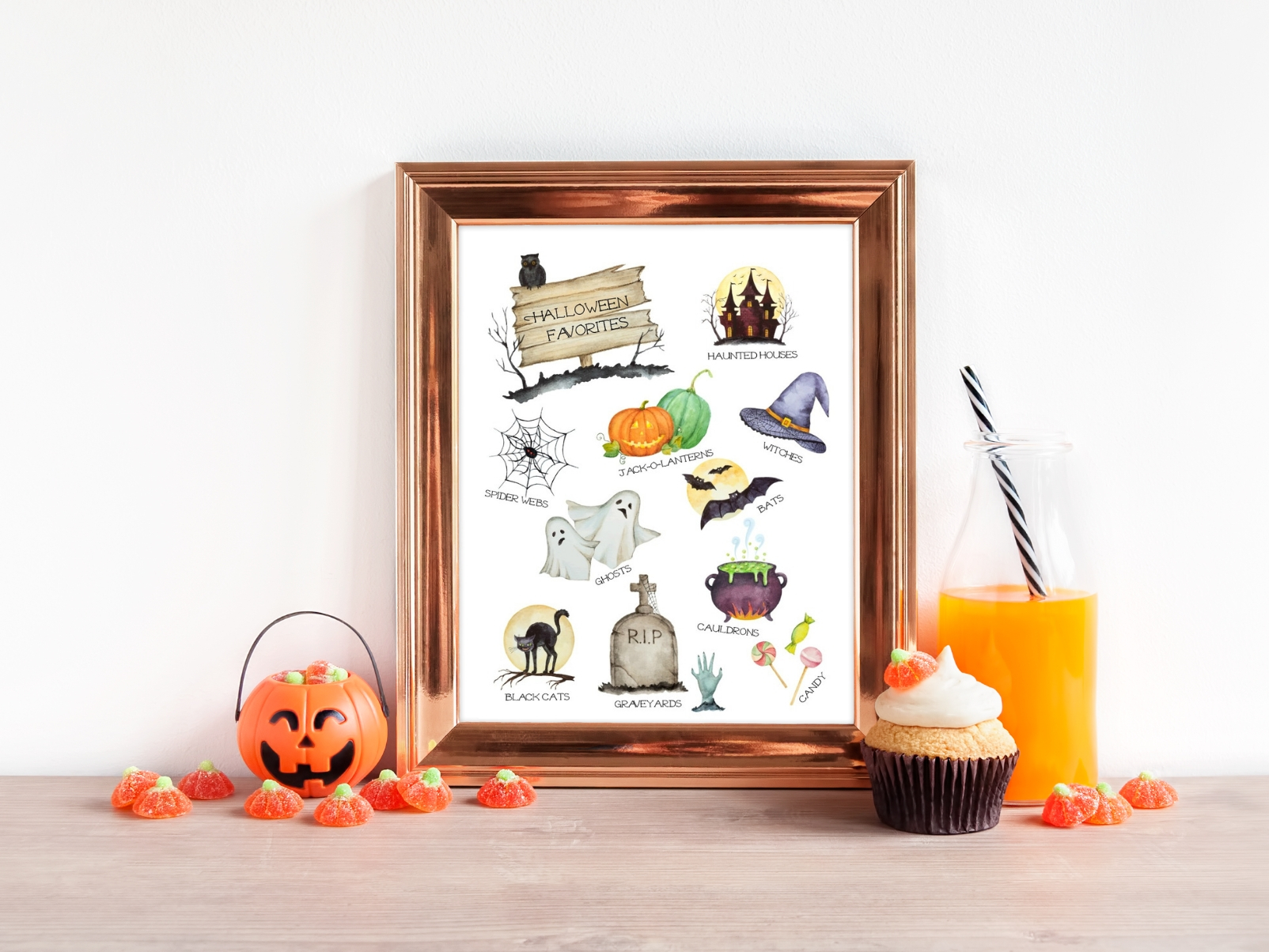 Get into the Halloween spirit with this FREE watercolor Halloween favorites printable. Download and print this watercolor print, perfect for your seasonal gallery walls. Happy Halloween and Trick-or-Treat!