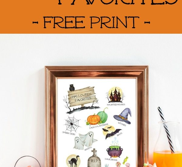 Get into the Halloween spirit with this FREE watercolor Halloween favorites printable. Download and print this watercolor print, perfect for your seasonal gallery walls. Happy Halloween and Trick-or-Treat! #HappyHalloween