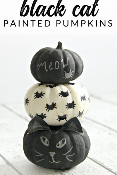 Simple Halloween Craft: Black Cat Mini Pumpkins