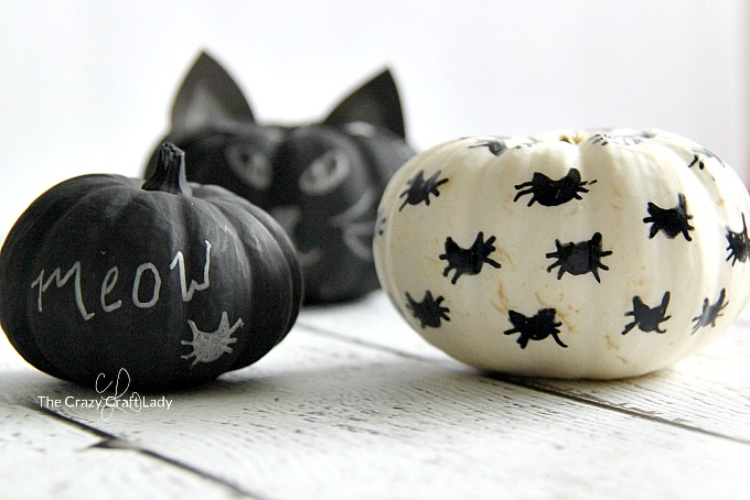 These black cat mini pumpkins are the perfect simple pumpkin craft for anyone who loves cats. Learn how to make no carve cat pumpkins with black paint. Black and white Halloween crafts.
