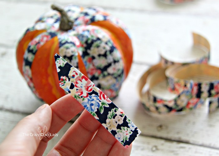 cutting fabric tape strips for fake pumpkin