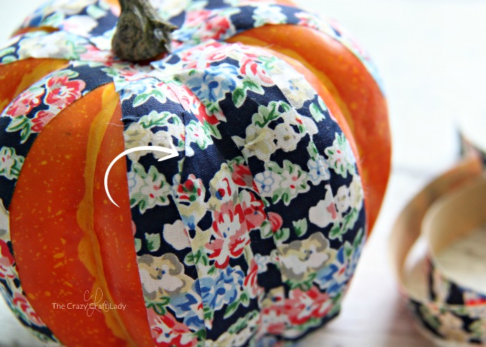 fake pumpkin decorating with fabric tape