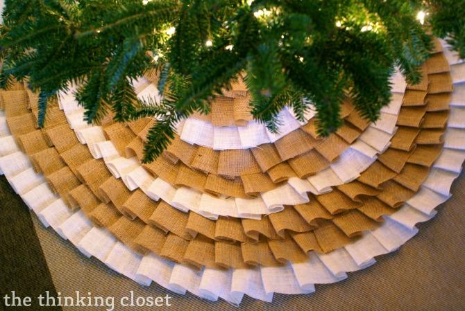 DIY Christmas Tree Skirt Ideas: Ruffled Burlap (no-sew) Tree Skirt from The Thinking Closet