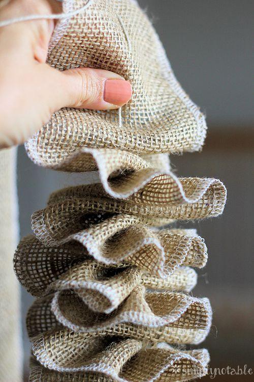 New and Unexpected Christmas Tree Garland Ideas - DIY Ruffled Burlap Ribbon Garland