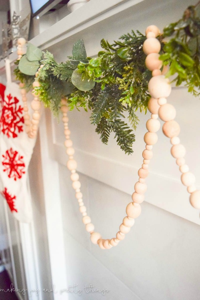 New and Unexpected Christmas Tree Garland Ideas - Farmhouse Wood Bead Garland