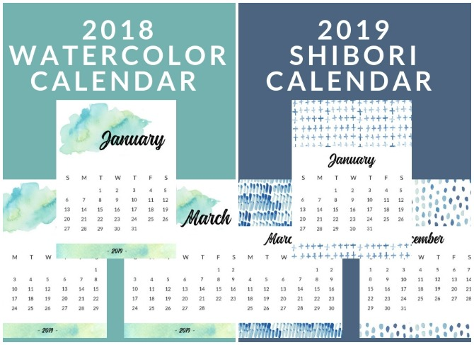 Free Printable 2019 Wall Calendars from The Crazy Craft Lady