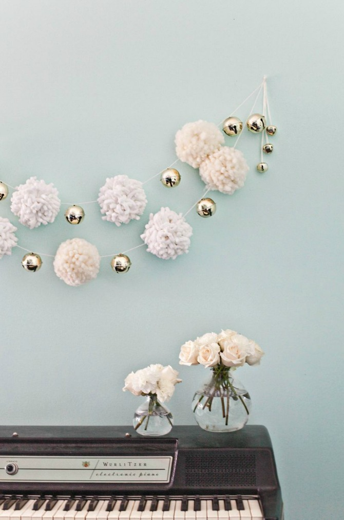 New and Unexpected Christmas Tree Garland Ideas - Giant Pom Pom White Garland
