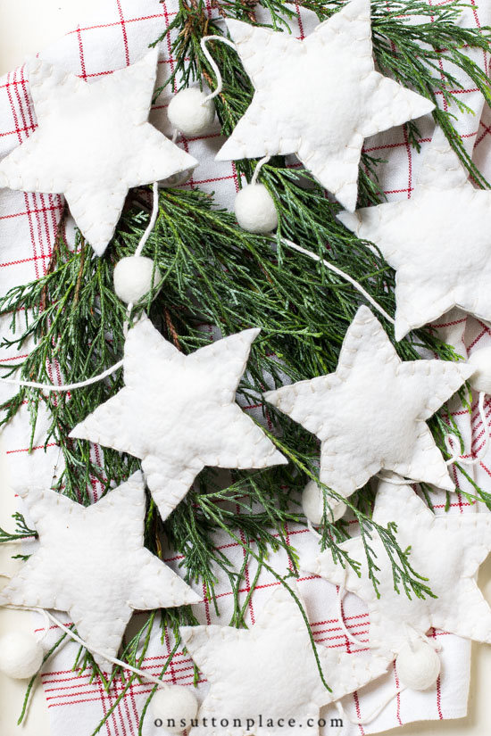 New and Unexpected Christmas Tree Garland Ideas - Ivory Wool Felt Star Garland